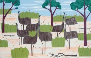 Walking with Emus Acrylic on linen 106 x 168cm